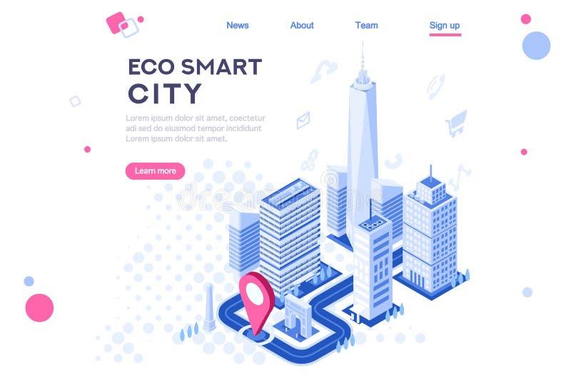 网城市聪明的Eco体系建筑 向量例证