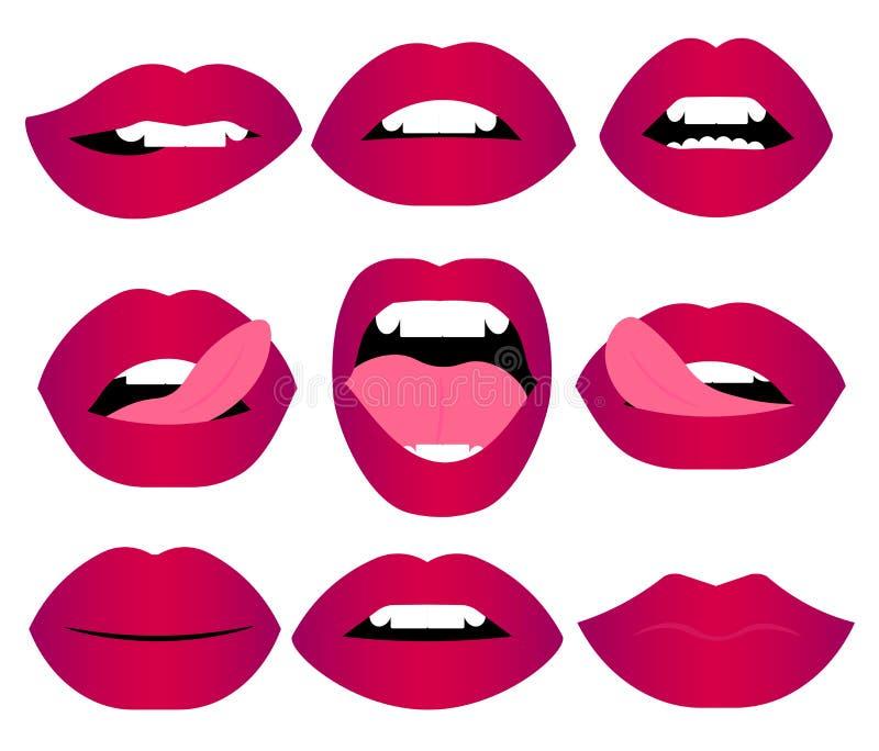 网妇女的嘴唇打手势集合 女孩嘴关闭与表现出红色口红的构成不同的情感 向量例证