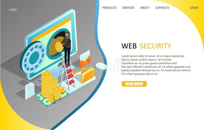 网安全着陆页网站传染媒介模板 向量例证