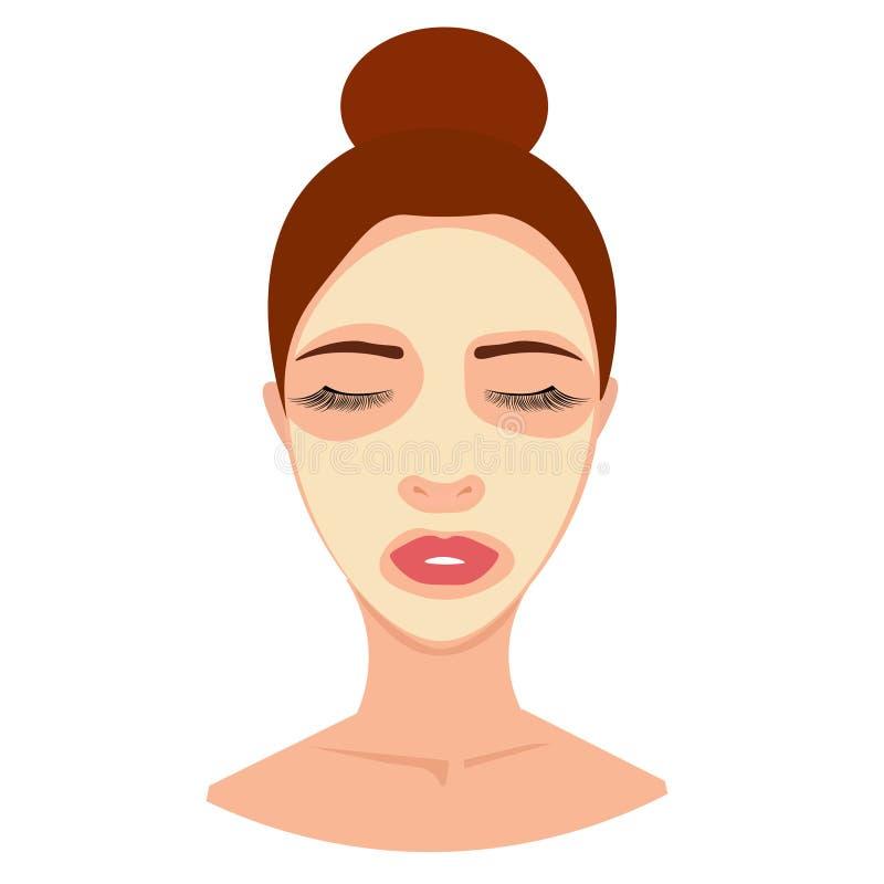 网年轻女人的温泉具体化化妆面具的,奶油,皮肤治疗 库存例证