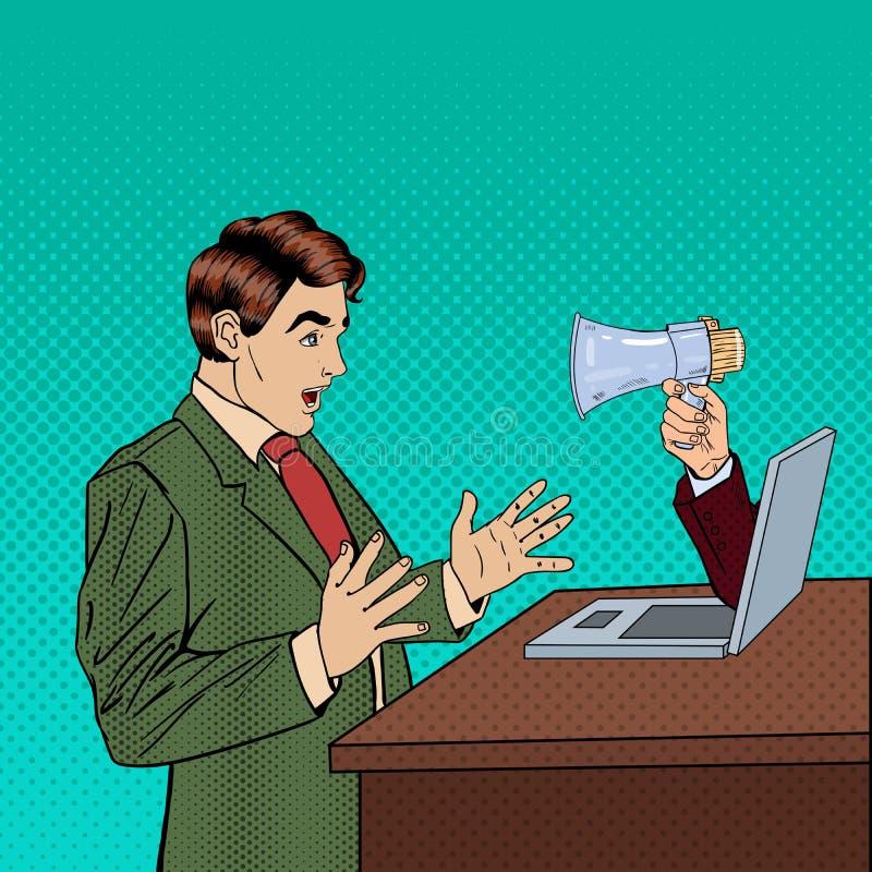 网广告、营销和垃圾短信-有促进通过在商人的膝上型计算机的扩音机的手 流行艺术 皇族释放例证