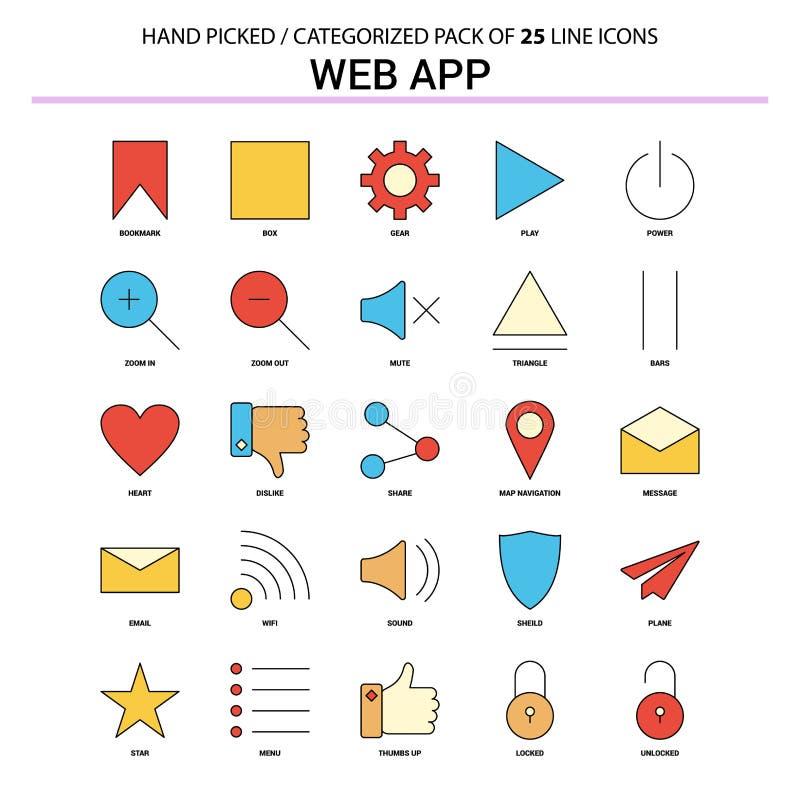 网应用程序平的线象集合-企业概念象设计 皇族释放例证