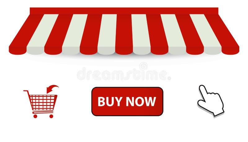 网店标志-遮篷,手推车,现在买按钮和鼠标-在白色背景-隔绝的传染媒介例证 库存例证