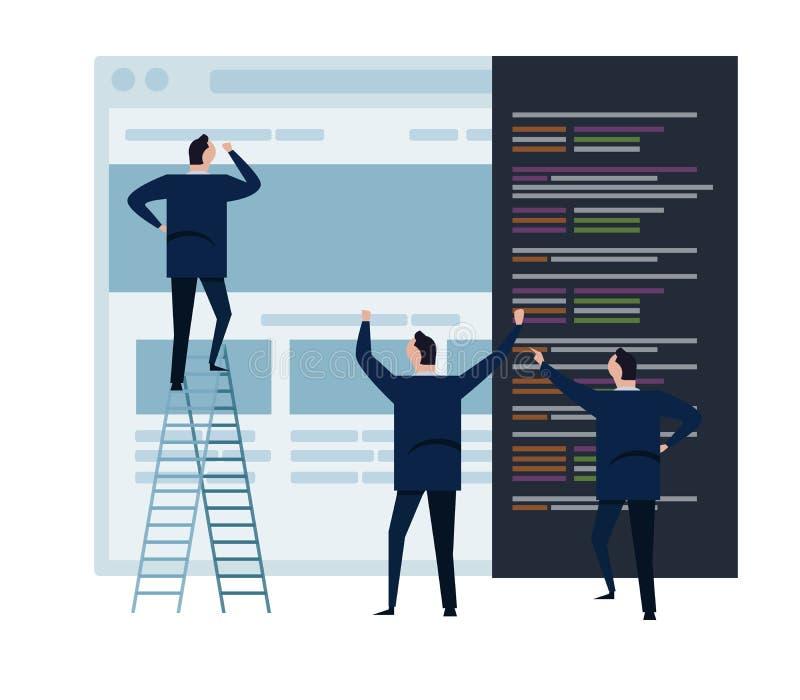 网开发和网络设计队和人工作在wireframe编制程序编程的概念小人民的企业队 皇族释放例证