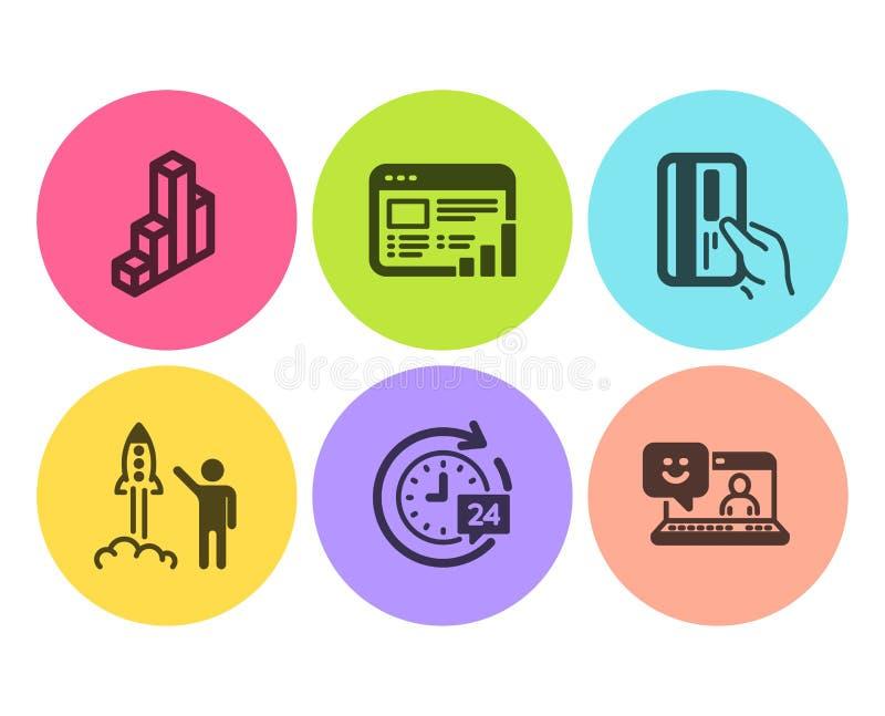 网报告、3d图和付款卡片象集合 24h交付、发射项目和微笑标志 ?? 皇族释放例证