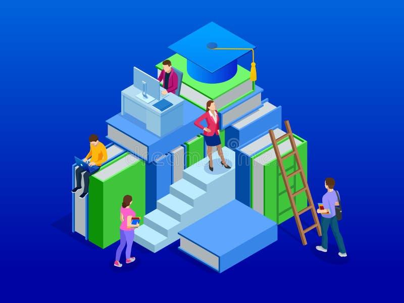 网教育的在全球性世界,网上学习的概念等量横幅 书步教育 也corel凹道例证向量 向量例证