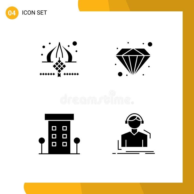 网格上的4个矢量实体字形集,用于masjid、house、ribbon、premium、shop 库存例证