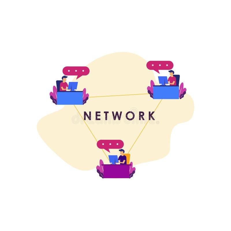 网模板设计例证的社会媒介概念例证 库存例证
