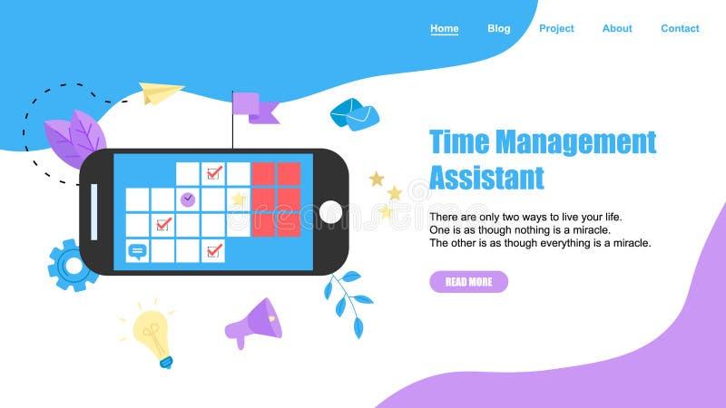 网模板 有标记、任务和笔记的网上时间管理助理 r r 皇族释放例证