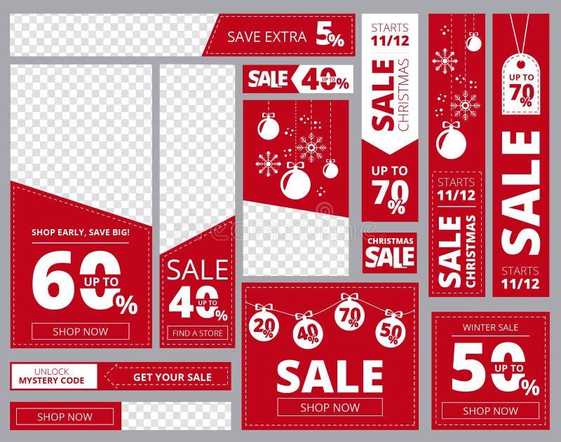 网横幅标准尺寸 广告业横幅水平的垂直的正方形塑造传染媒介模板 库存例证