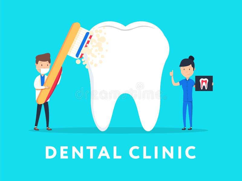 网横幅的牙齿诊所构思设计, infographics 口腔医学牙医在工作 平的样式例证 库存例证