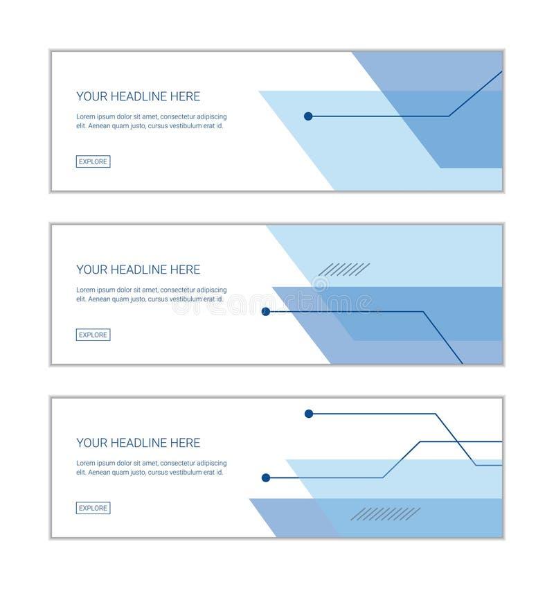 网横幅设计模板在技术设置了包括抽象背景 向量例证