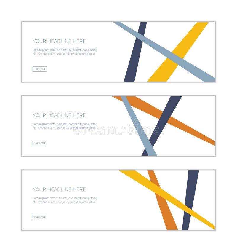 网横幅设计模板设置了包括用五颜六色做的抽象背景,三角几何形状 库存例证