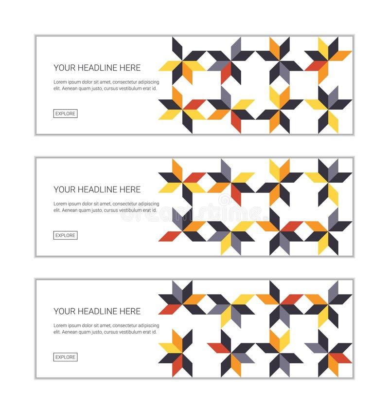 网横幅设计模板设置了包括用五颜六色的平行四边形形状做的抽象背景样式 皇族释放例证