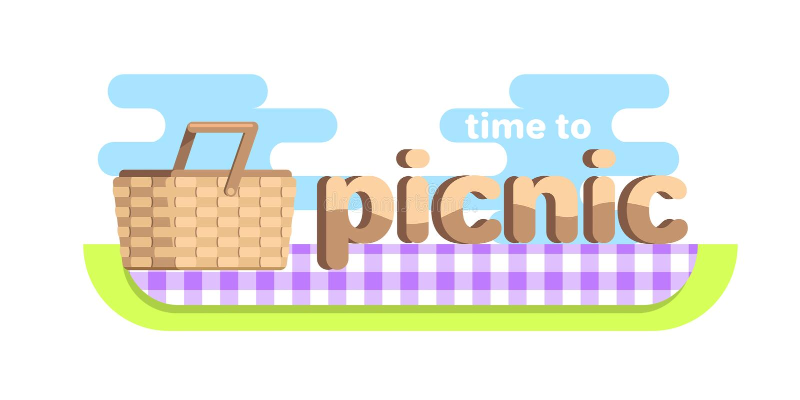 网横幅野餐时间,野餐篮子 库存例证