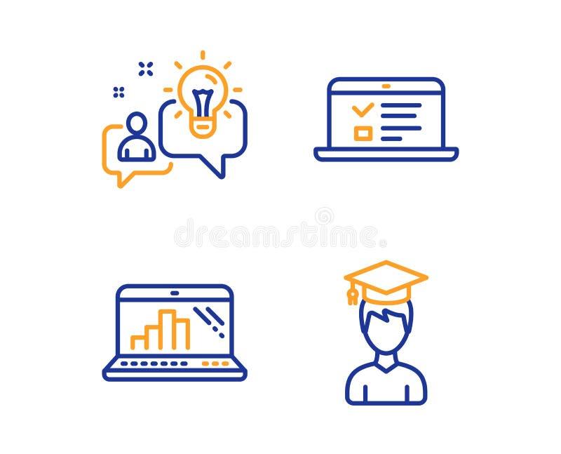 网演讲、图表膝上型计算机和想法象集合 学生标志 网上测试,流动报告,解答 ?? 向量例证