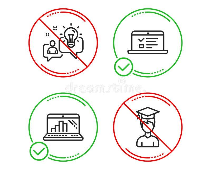 网演讲、图表膝上型计算机和想法象集合 学生标志 网上测试,流动报告,解答 ?? 库存例证