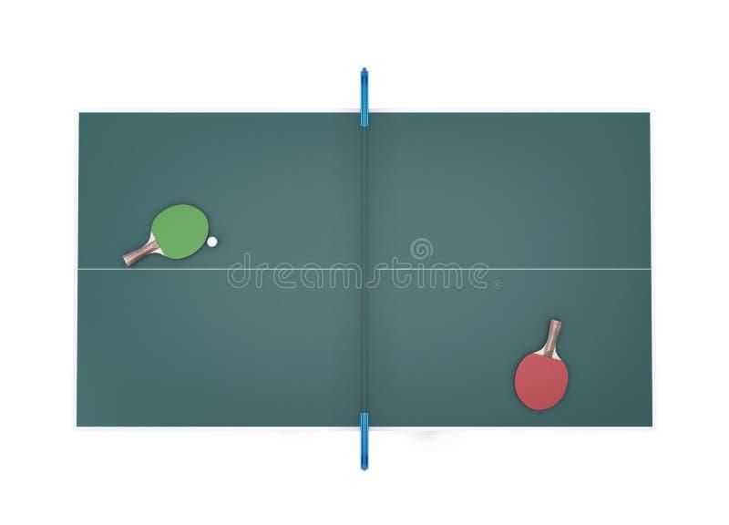网球台式视图和两网球拍有球的对此 皇族释放例证