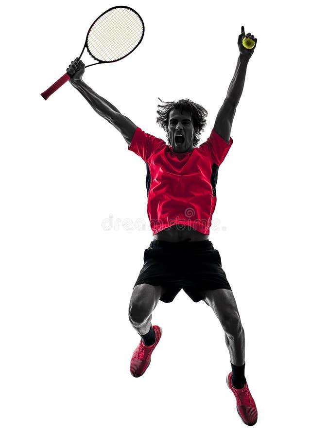 网球员人剪影被隔绝的白色背景 图库摄影