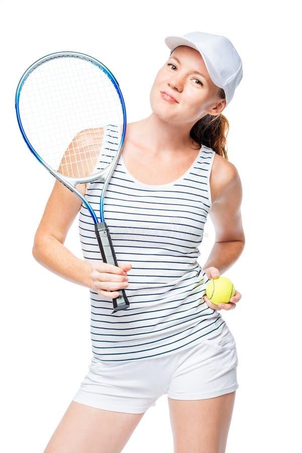 网球员确信对在白色的谐谑 库存照片