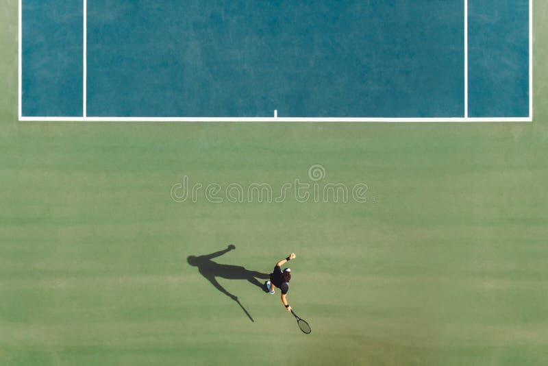 网球员顶视图  图库摄影