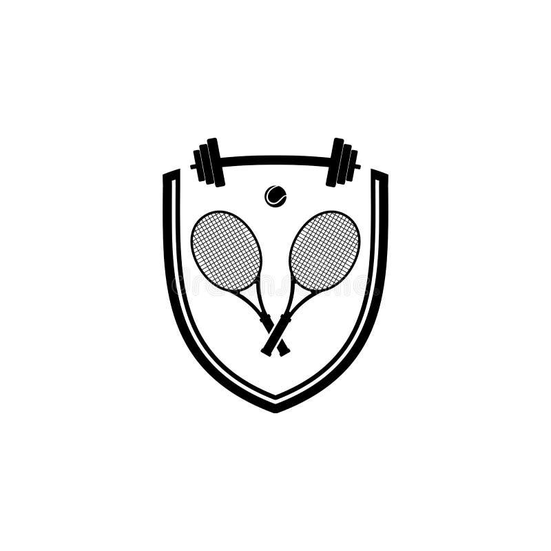 网球和训练徽章商标 皇族释放例证
