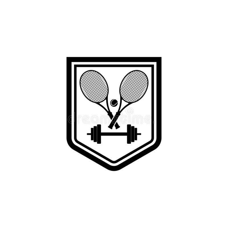 网球和训练徽章商标 向量例证