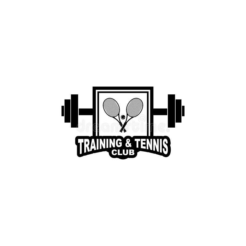 网球和训练徽章商标 库存例证