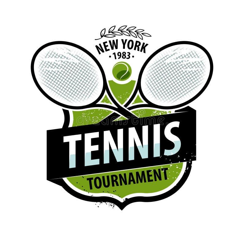 网球商标或标签 概念查出的体育运动白色 也corel凹道例证向量 向量例证