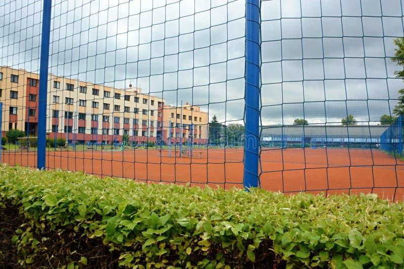 网球场在公园Stromovka在布拉格 免版税库存图片