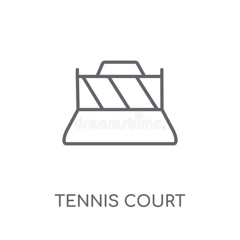 网球场线性象 现代概述网球场商标conce 皇族释放例证