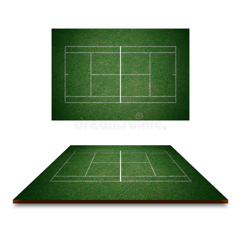 网球场,与空白线路的绿草从顶视图 向量例证
