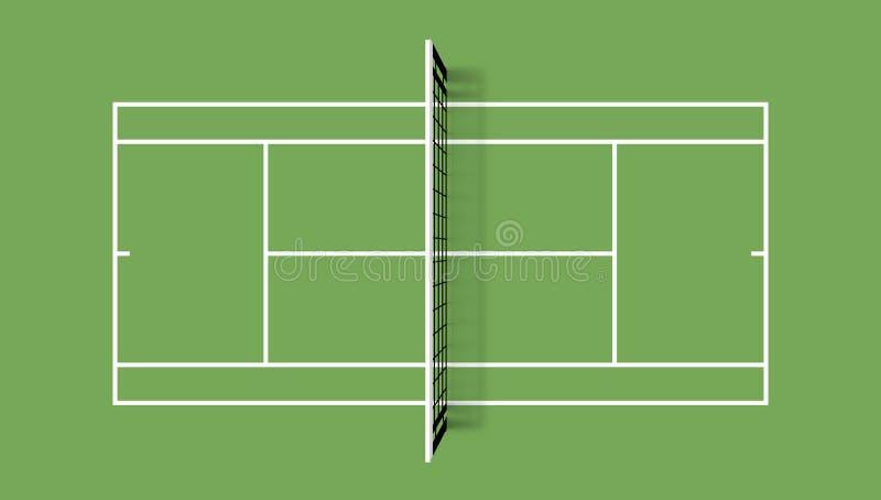 网球场 草盖子领域 顶视图与栅格和阴影的传染媒介例证 库存例证