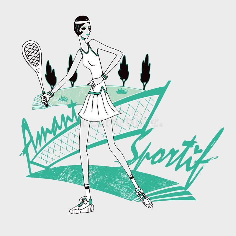 网球女孩天真样式 库存例证