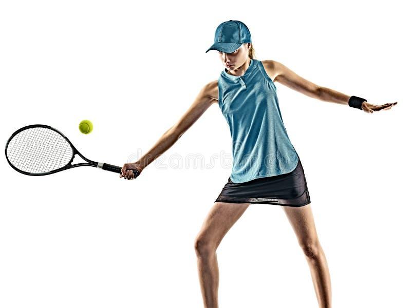 网球妇女被隔绝的剪影 免版税库存图片