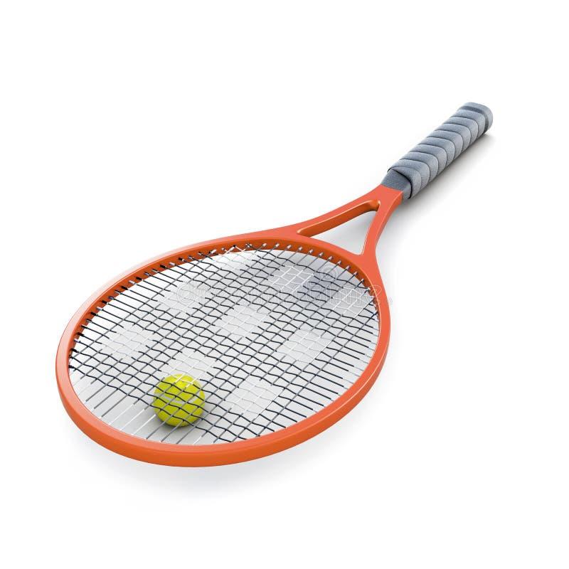 网球拍和球在白色背景 3D renderin 库存照片