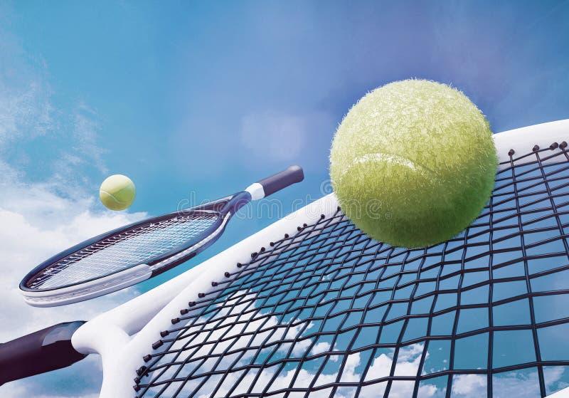 网球拍和黄色球反对天空蔚蓝 皇族释放例证
