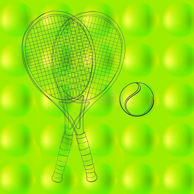 网球样式,背景,与两副球拍的纹理 手拉,剪影 图画体育 抽象绿色,春天和 向量例证