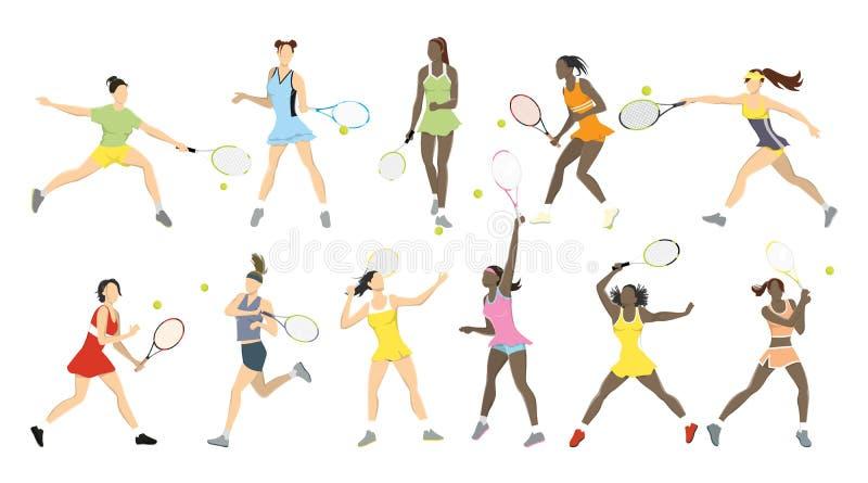 网球运动员被设置 皇族释放例证