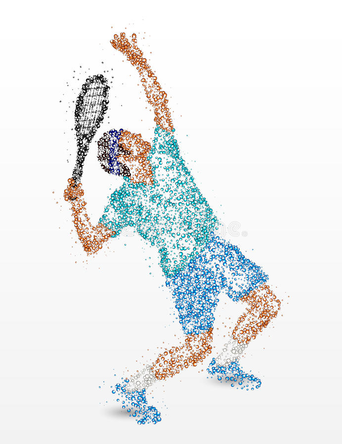 网球,球员,抽象 库存例证