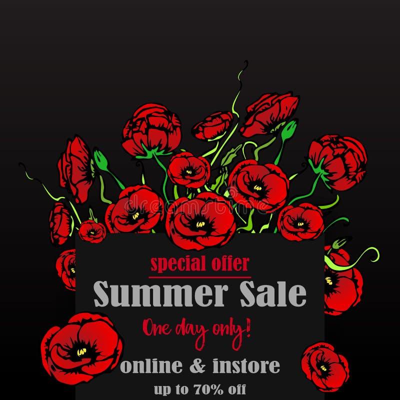 网的大销售flayer模板和印刷品,与红色百花香的黑背景 创造性的传染媒介设计,典雅与鸦片 皇族释放例证