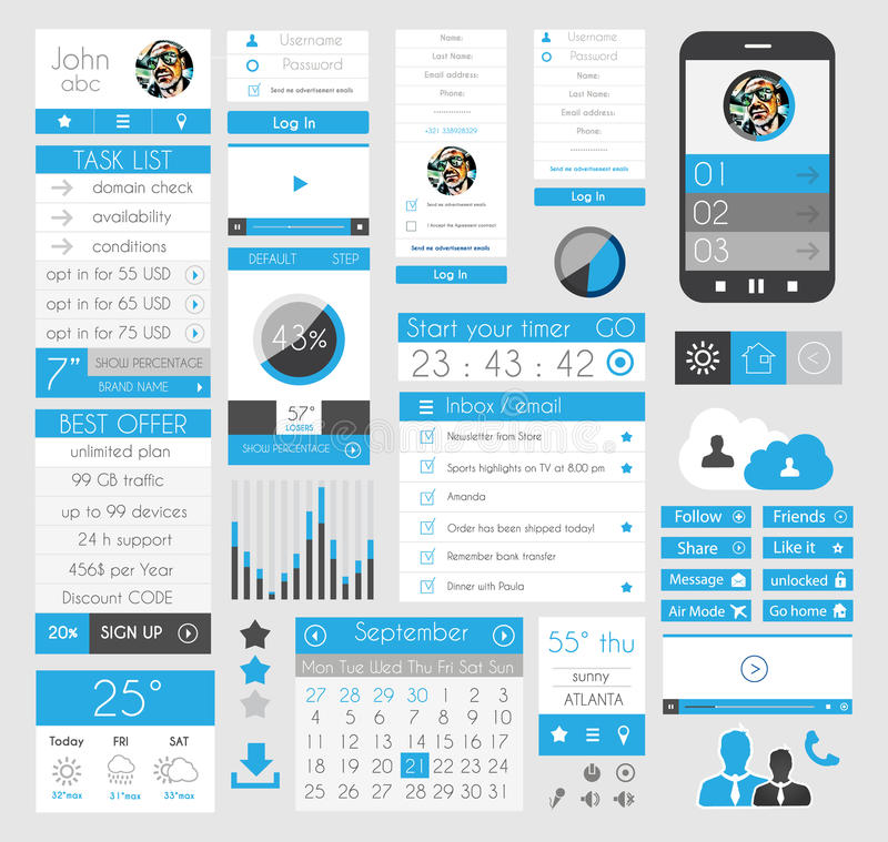 网的, Infographics UI平的设计元素, 向量例证