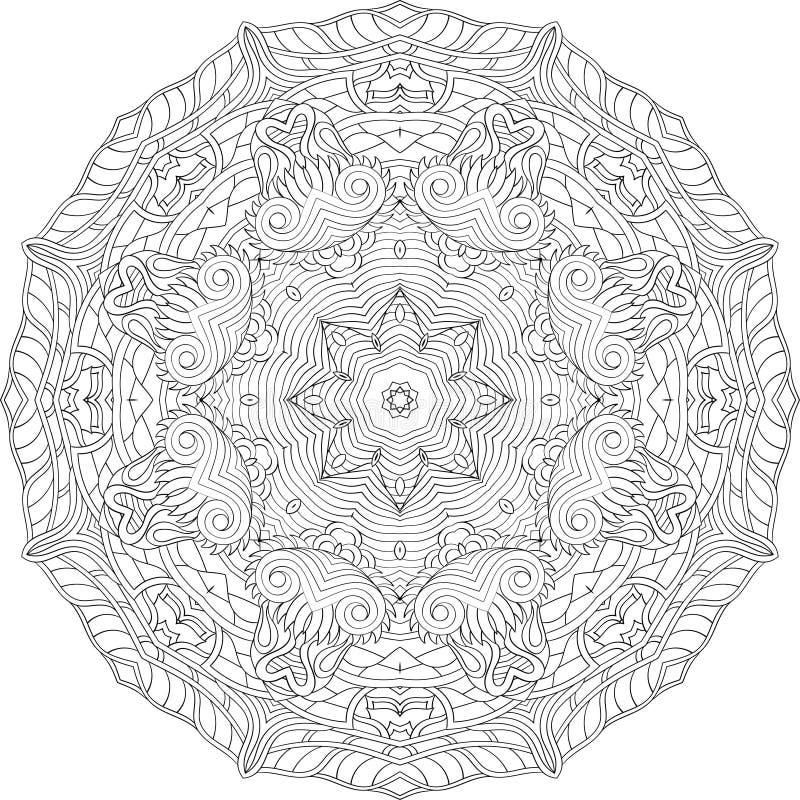 网眼图案mehndi弯曲的装饰品 种族主题,单色二进制和谐乱画纹理 黑色白色 向量 向量例证