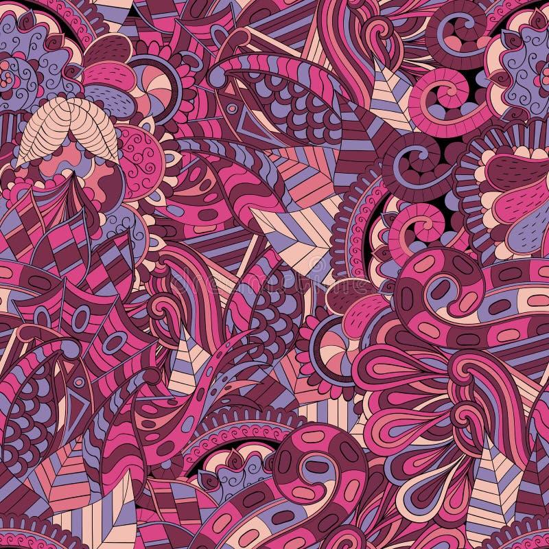 网眼图案mehndi种族装饰品 冷漠谨慎镇定的主题,能用的乱画的五颜六色的和谐设计 向量 皇族释放例证