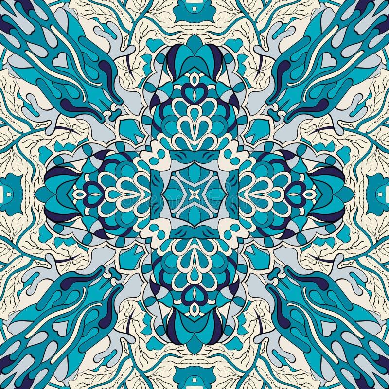 网眼图案mehndi种族装饰品 冷漠谨慎镇定的主题,能用的乱画的五颜六色的和谐设计 向量 库存例证