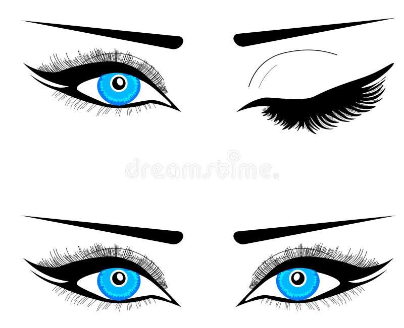 网眼睛象标志标志 与长的睫毛和眼眉的两双女性美丽的蓝眼睛 皇族释放例证