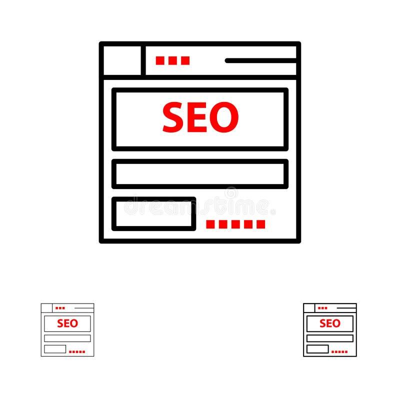 网站、服务器、数据,主持,Seo,技术大胆和稀薄的黑线象集合 皇族释放例证