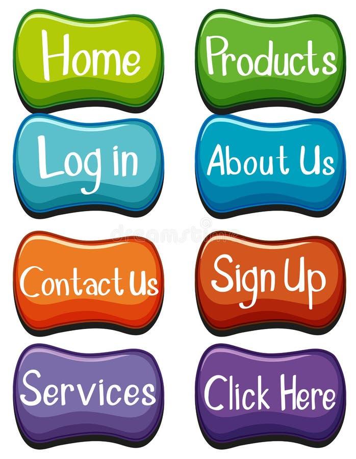 网站与词的按钮设计 向量例证