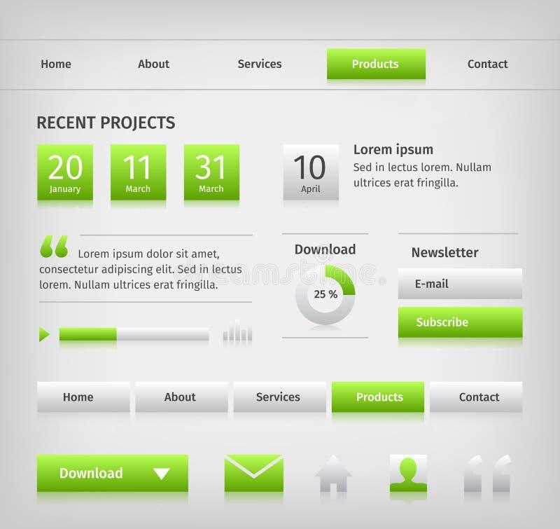 网站与绿色按钮翱翔的设计元素 向量例证