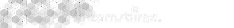 网站倒栽跳水或横幅设计有六角形样式几何抽象背景  与六角纹理的传染媒介例证 库存例证